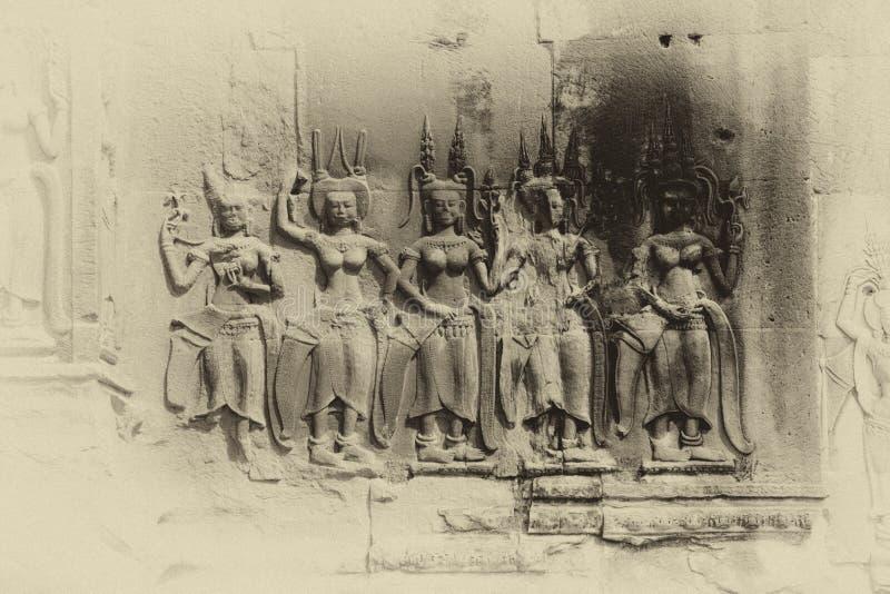 De Apsaradansers verfraaien Angkor Wat royalty-vrije stock afbeelding