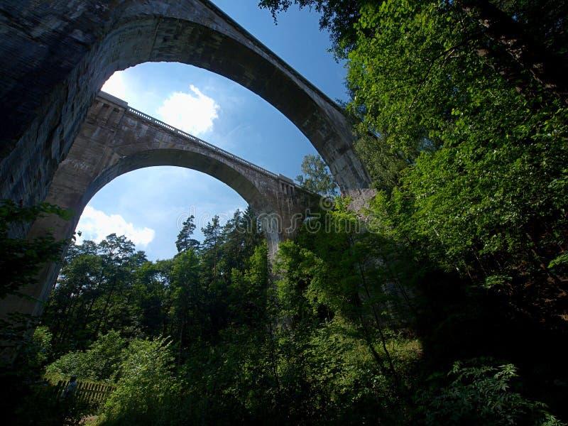 De aquaductentrein van Stańczyki stock afbeeldingen