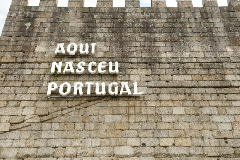 ` de Aqui Nasceu Portugal do ` - Guimaraes - Portugal imagem de stock