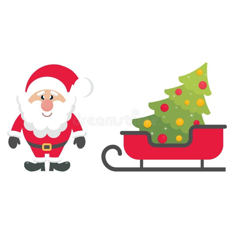 De ar van beeldverhaalkerstmis en spar en de Kerstman royalty-vrije illustratie