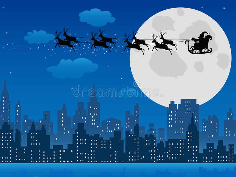 De ar van de kerstman over stedelijke horizon vector illustratie