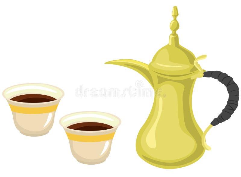 De Arabische Gouden Koppen van de Koffiekan & van de Koffie vector illustratie
