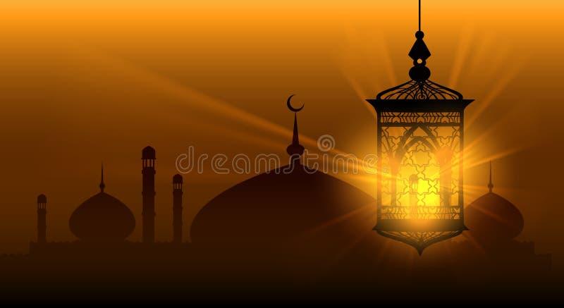 De Arabische Islamitische achtergrond van nachten ramadan kareem royalty-vrije illustratie