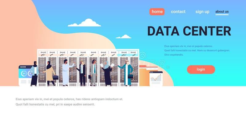 De Arabische mensen die gegevens werken centreren ruimte het ontvangen servercomputer van de het gegevensbestandgrafiek van de co royalty-vrije illustratie