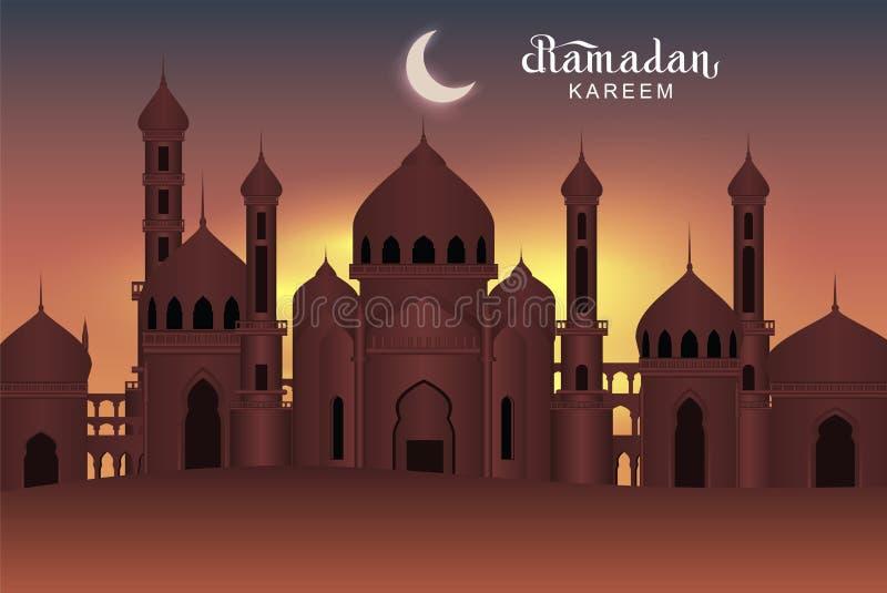 De Arabische moskee van de nacht heilige stad Ramadan Kareem-groetkaart