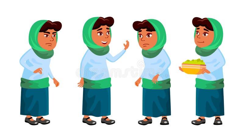 De Arabische, Moslimmeisjesschool, Meisjesjong geitje stelt Vastgestelde Vector Lage schoolkind Voor Prentbriefkaar, Aankondiging royalty-vrije illustratie