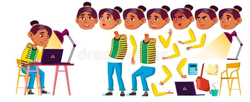 De Arabische, Moslimvector van het Meisjesjonge geitje Middelbare schoolkind De Reeks van de animatieverwezenlijking Gezichtsemot royalty-vrije illustratie