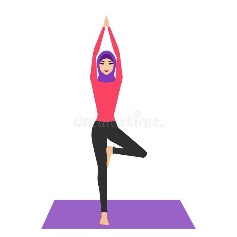 De Arabische vrouw in yoga stelt met hijab Jonge vrouw die hijab, het praktizeren yogapictogram dragen Het concept gezonde levens stock illustratie