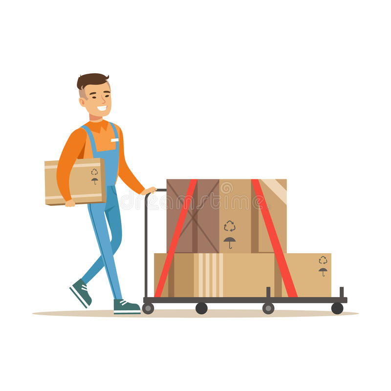 De Arbeider die van de leveringsdienst Geladen Kar duwen, Glimlachend Koerier Delivering Packages Illustration royalty-vrije illustratie