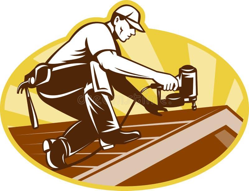 De Arbeider die van het Dakwerk van Roofer aan Dak werkt stock illustratie