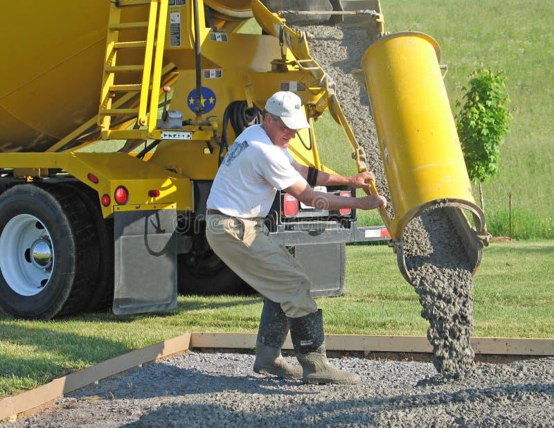 De arbeider leidt de stroom van beton royalty-vrije stock afbeeldingen