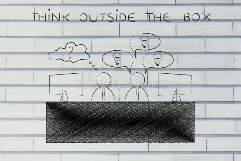 De arbeider met overvloed van ideeën en twijfelachtige, denkt buiten stock foto