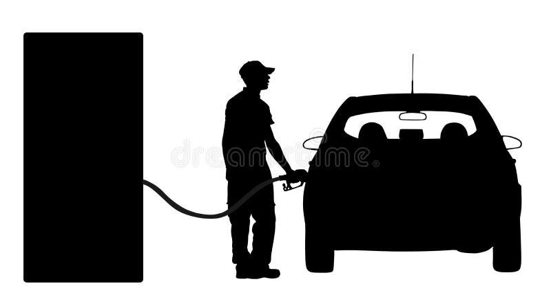 De arbeider op benzinestation vult de machine met brandstofsilhouet De auto vult met benzine De pomp van het benzinestation Mens  royalty-vrije illustratie