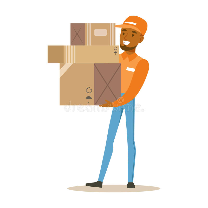 De Arbeider van de leveringsdienst in Oranje GLB-Holdingsstapel van Dozen, Glimlachende Koerier Delivering Packages Illustration stock illustratie