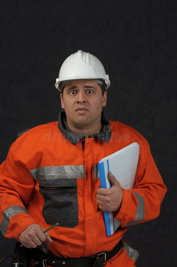 De arbeider van de mijn met dossier stock afbeelding