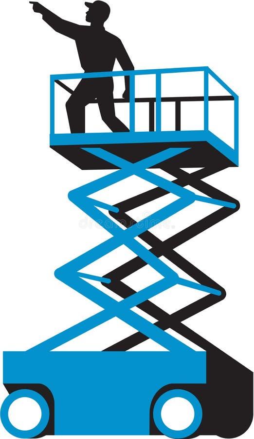 De Arbeider van de schaarlift Retro Richten stock illustratie
