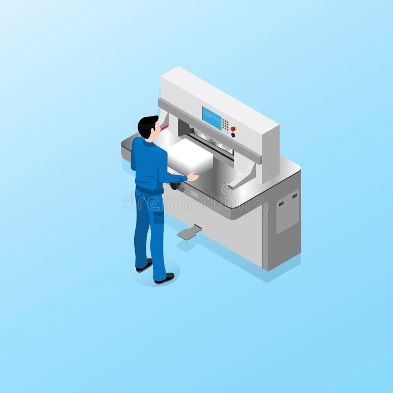 De arbeider van het polygraphic centrum voert taken van de exploitant van een snijmachine uit vector illustratie
