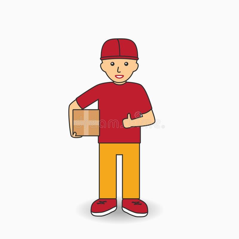 De Arbeider van de leveringsdiensten in eenvormig Koeriersmens die een doos houden Vector stock illustratie