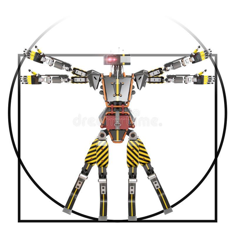 De arbeider van de Vitruvianrobot stock illustratie