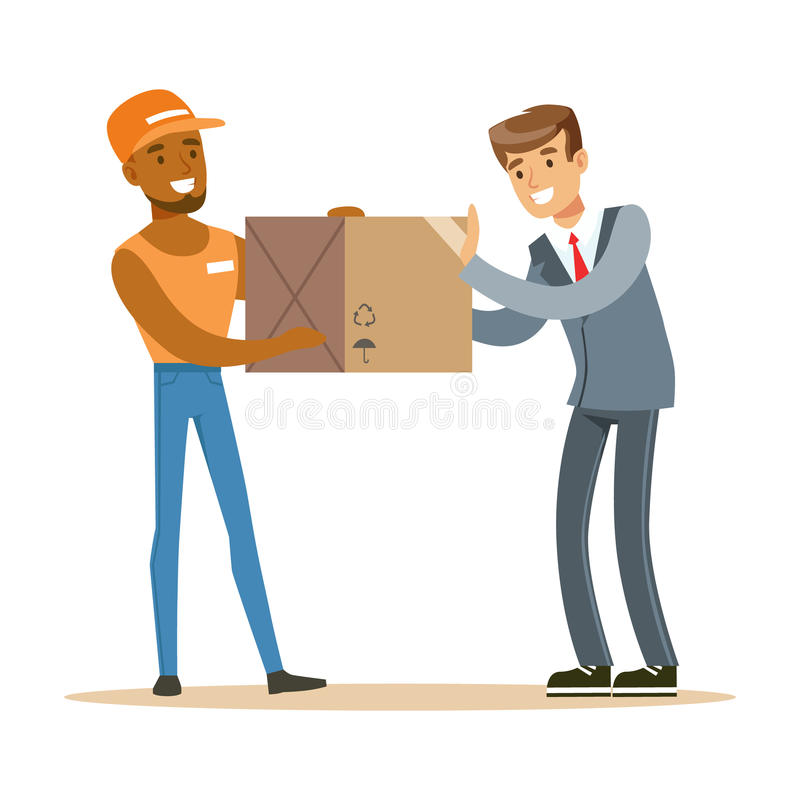 De Arbeiders Brengende Doos van de leveringsdienst aan Beambte, Glimlachende Koerier Delivering Packages Illustration vector illustratie