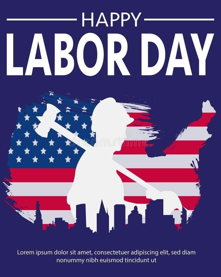 De Arbeiders Eenvoudige Schaduw van Amerika vector illustratie