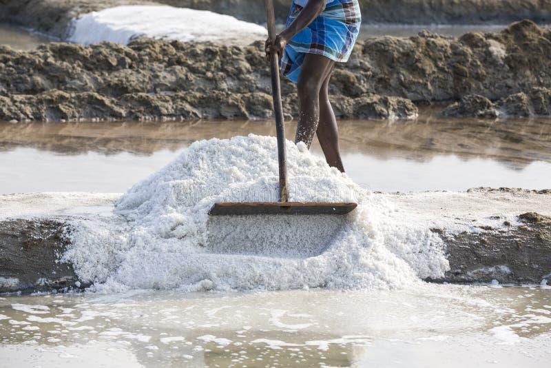 De arbeiders van de close-up het Niet geïdentificeerde mens verbeteren, die het zout, op grote zoute gebieden, handarbeid, biolog royalty-vrije stock afbeelding