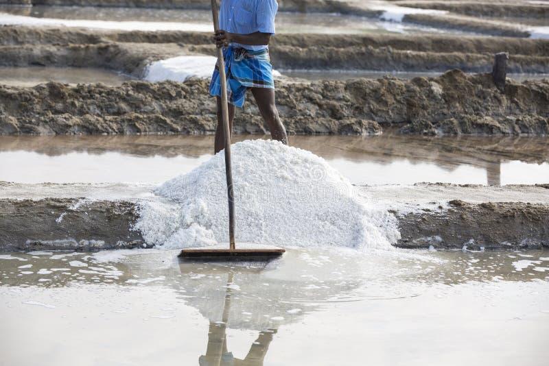 De arbeiders van de close-up het Niet geïdentificeerde mens verbeteren, die het zout, op grote zoute gebieden, handarbeid, biolog royalty-vrije stock afbeeldingen