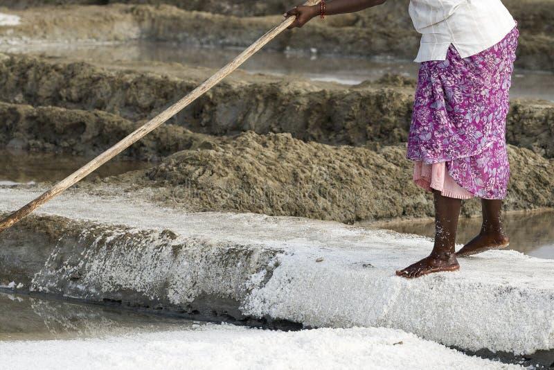De arbeiders van de close-up het Niet geïdentificeerde vrouw verbeteren, die het zout, op grote zoute gebieden, handarbeid, biolo royalty-vrije stock foto