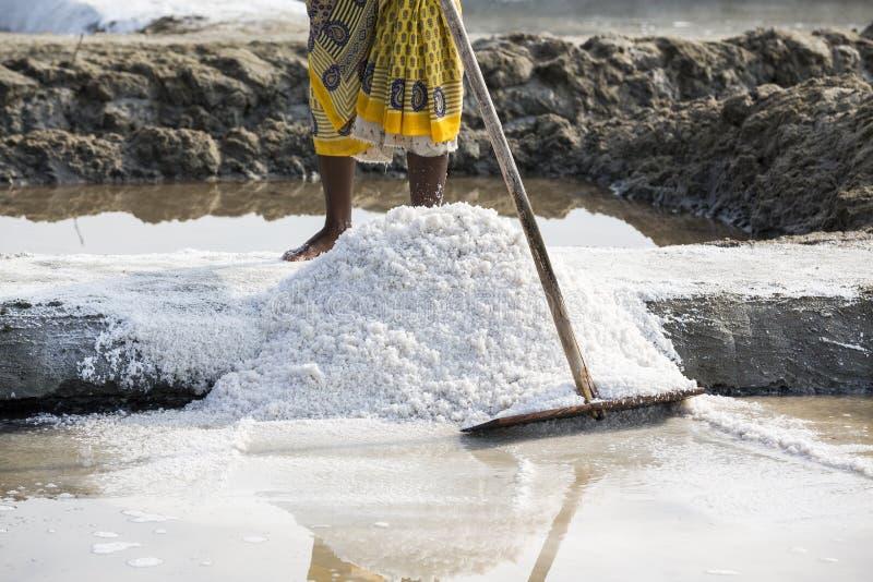 De arbeiders van de close-up het Niet geïdentificeerde vrouw verbeteren, die het zout, op grote zoute gebieden, handarbeid, biolo royalty-vrije stock afbeeldingen