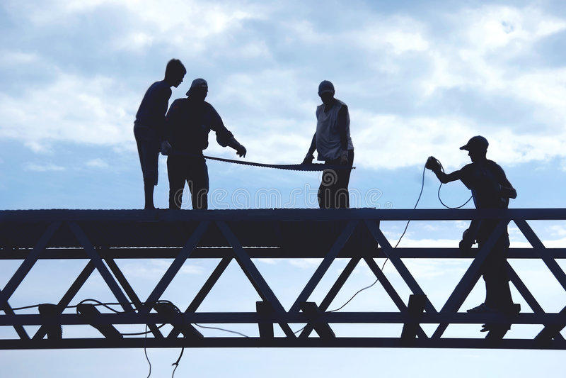 De arbeiders van het silhouet