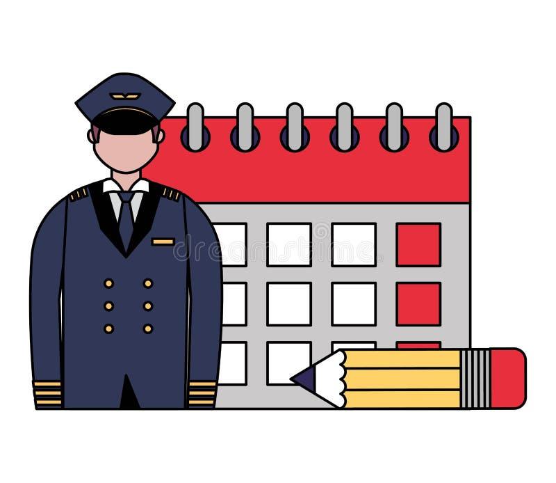 De arbeidsdag van de luchtvaart proefkalender stock illustratie