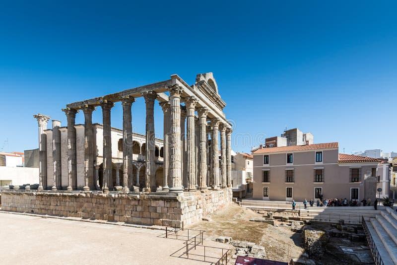 De archeologische overblijfselen Merida Spain van meningsdiana temple royalty-vrije stock foto's