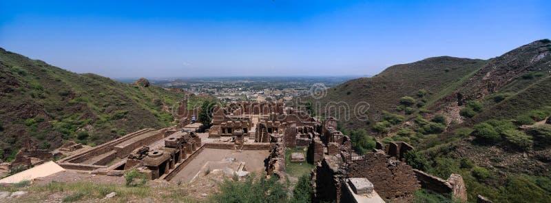 De archeologische plaats en Boeddhistisch klooster Pakistan van takht-I-Bhai Parthian stock afbeelding