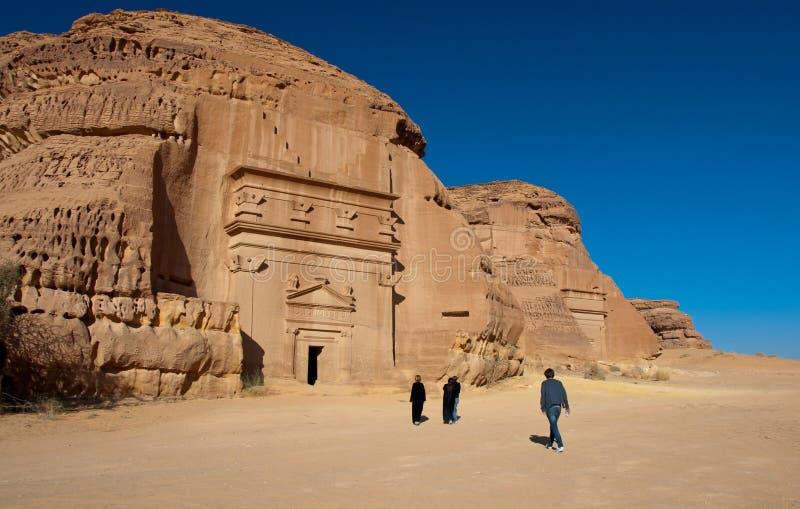 De archeologische plaats Madain Saleh van Al Hijr in Saudi-Arabië stock foto