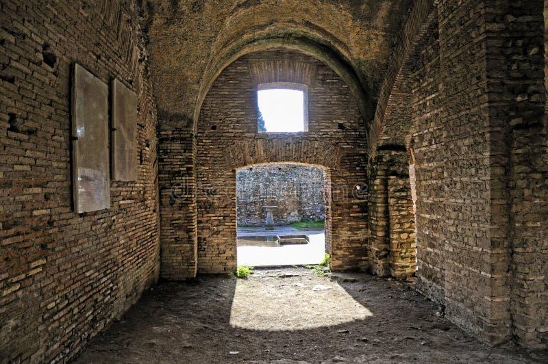 De archeologische plaats van Ostia Antica die de oude haven van Rome in Italië was royalty-vrije stock foto