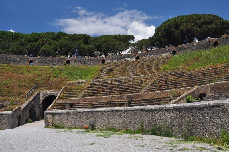 De archeologische plaats van Pompei, Italië amphitheatre stock afbeelding