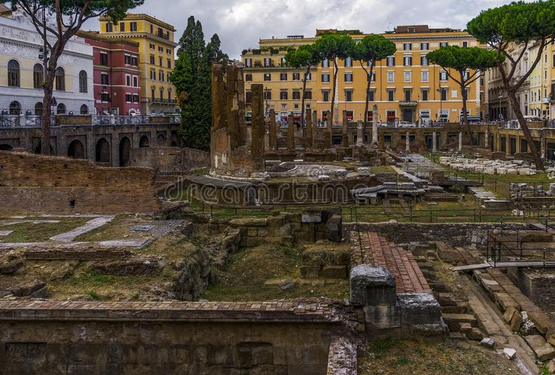 De archeologische plaats van Rome, Italië Largo di Torre Argentina stock afbeelding