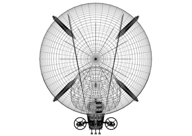 De Architect geïsoleerd Blueprint van het luchtschipontwerp - stock illustratie