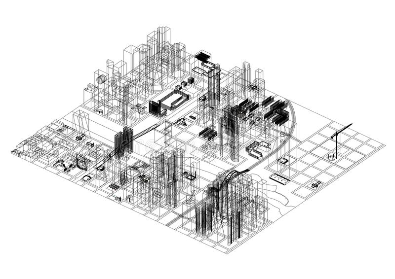 De Architect geïsoleerd Blueprint van het stadsconcept - stock illustratie