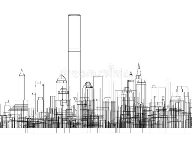 De Architect geïsoleerd Blueprint van het stadsconcept - royalty-vrije illustratie