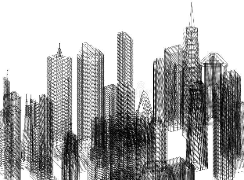 De Architect geïsoleerd Blueprint van het stadsconcept - vector illustratie