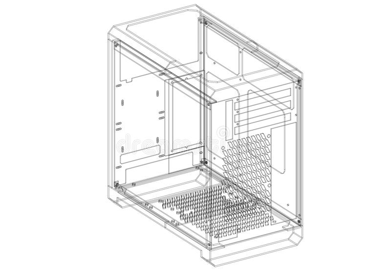 De Architectenblauwdruk van het computergeval stock illustratie
