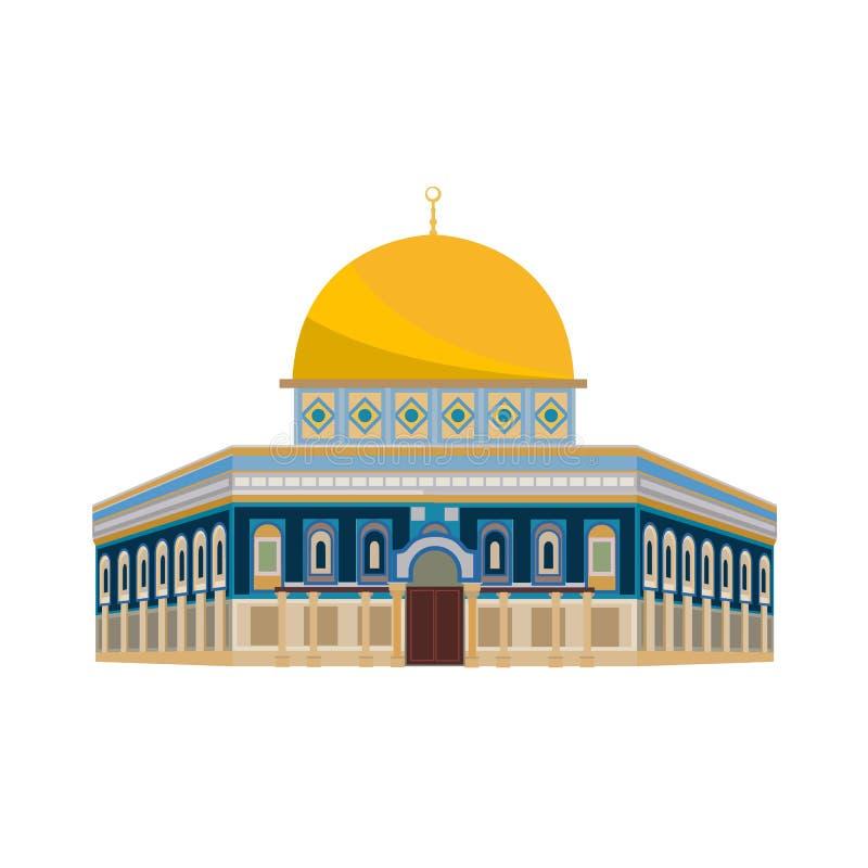 De architecturale bouw Architectuur, monumenten, oriëntatiepunt Moskee: Koepel van Kerk - Jeruzalem vector illustratie