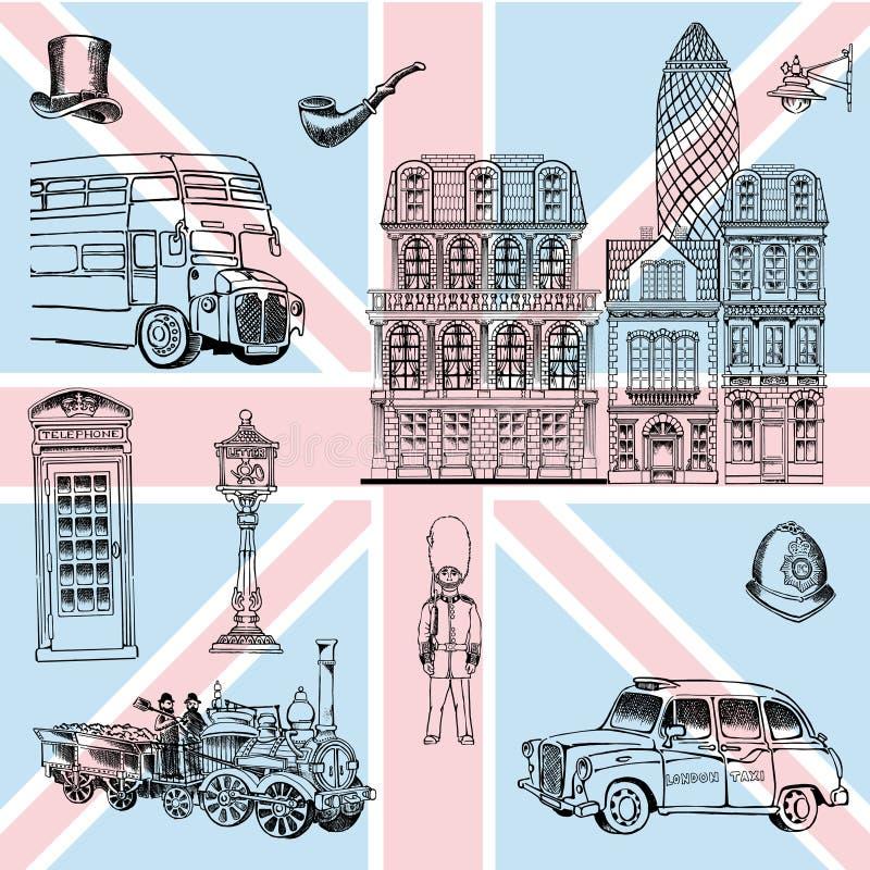 De architecturale gem van de stad van Londen en zijn andere significante symbolen vector illustratie