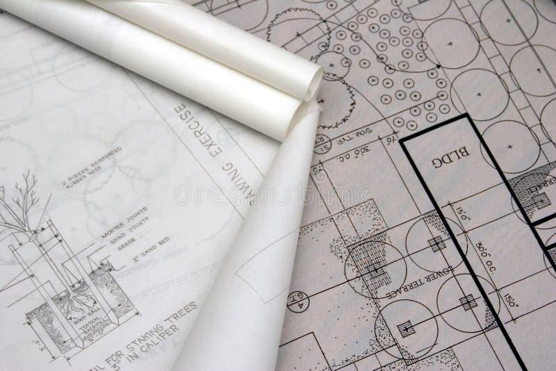 De architecturale tekeningen van het landschap