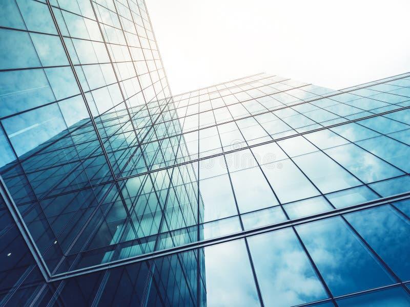 De architectuur detailleert Moderne de voorgevel van het de Bedrijfs bouwglas achtergrond stock foto