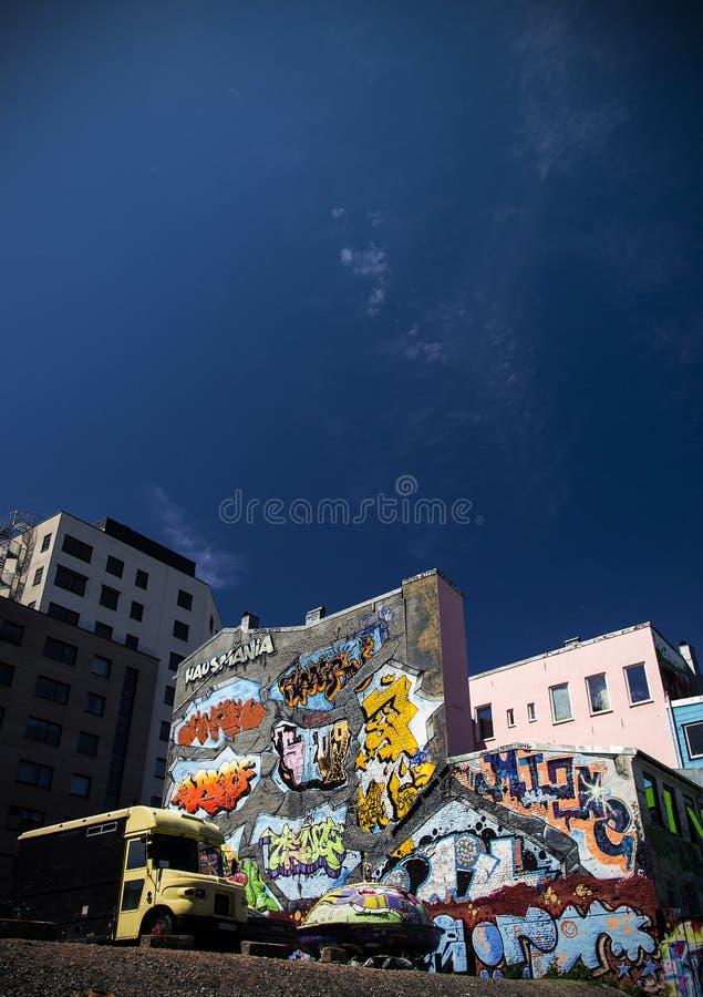 De Architectuur Stedelijke Graffiti Noorwegen van Oslo royalty-vrije stock afbeeldingen