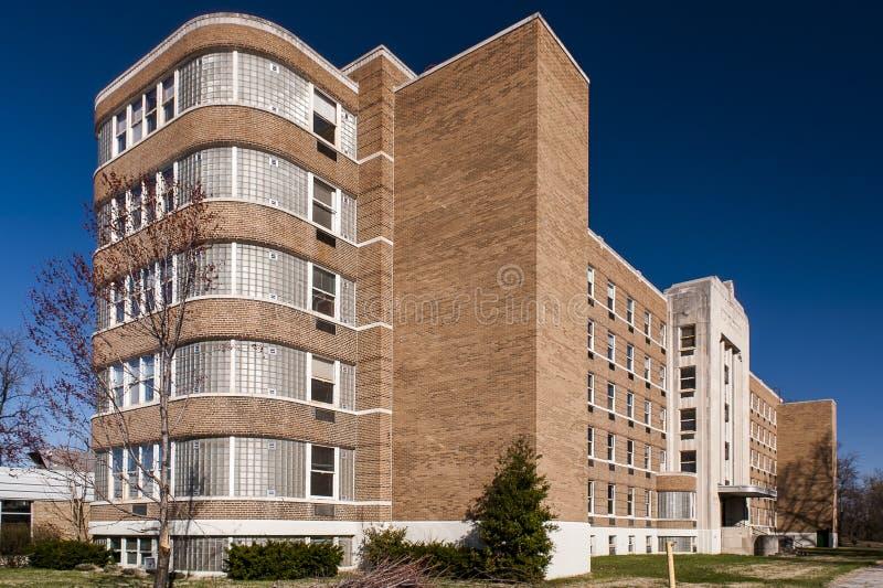 De Architectuur van Art Moderne/Deco-- Silvercrest-Sanatorium - Nieuw Albany, Indiana stock afbeeldingen