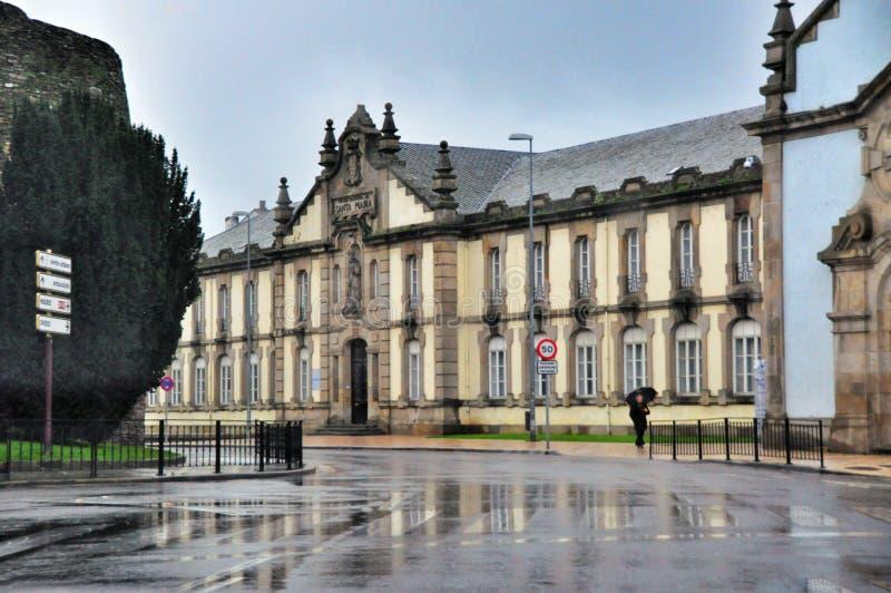 De architectuur van de Spaanse stad van Lugo stock foto's