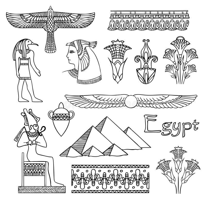 De architectuur van Egypte en ornamenten vectorreeks stock illustratie